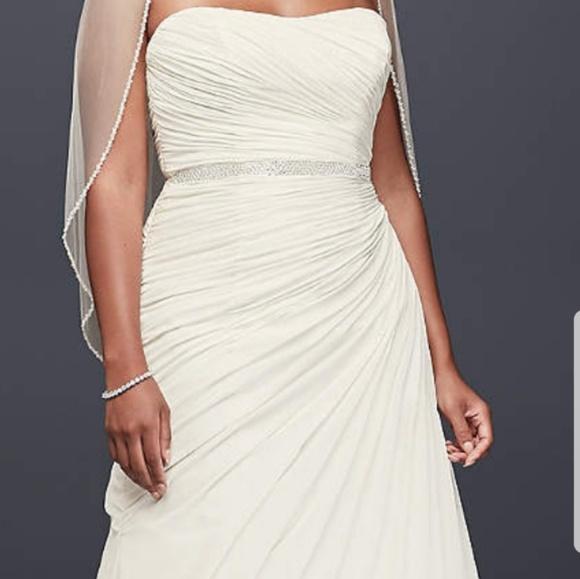 Davids Bridal Dresses Crinkle Chiffon Draped Plus Size Wedding